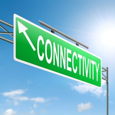 surfing the net: Illustration depicting a sign with a connectivity concept.