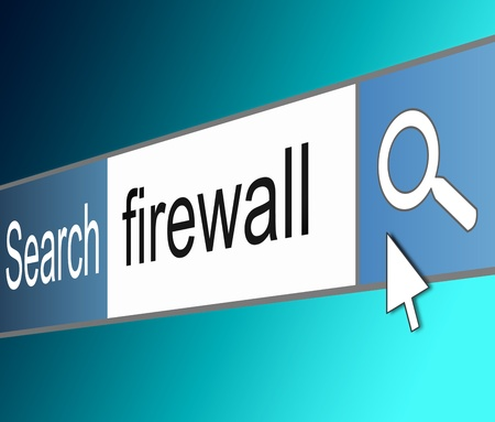 hacked: Illustration depicting a screen shot of an internet search bar containing a firewall concept.