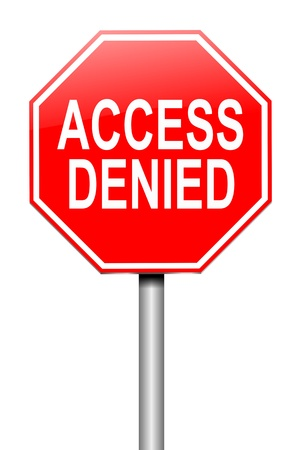 sign in: Illustration depicting a sign with an access denied concept.