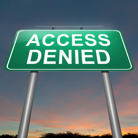 refused: Illustration depicting a sign with an access denied concept.