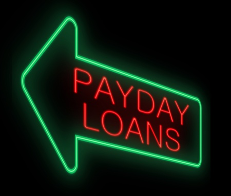 advance: Illustration depicting a neon sign with a payday loans concept.