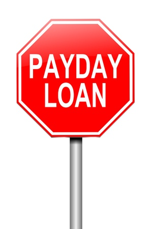 loans: Illustration depicting a sign with a payday loans concept.