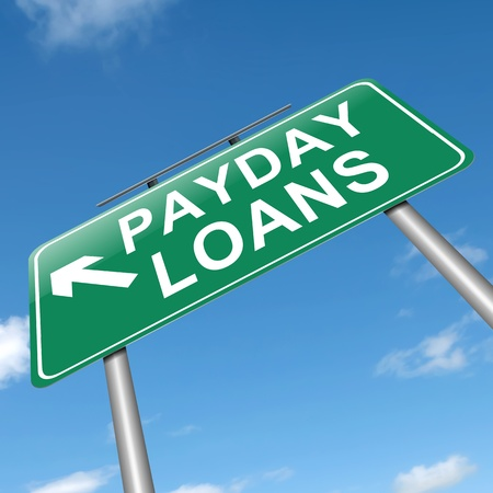 advance: Illustration depicting a sign with a payday loans concept.