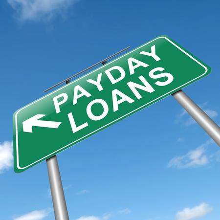 tomar prestado: Ilustraci�n que muestra un cartel con un concepto de pr�stamos de d�a de pago.
