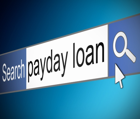payday: Illustration depicting a screen shot of an internet search bar containing a payday loan concept.