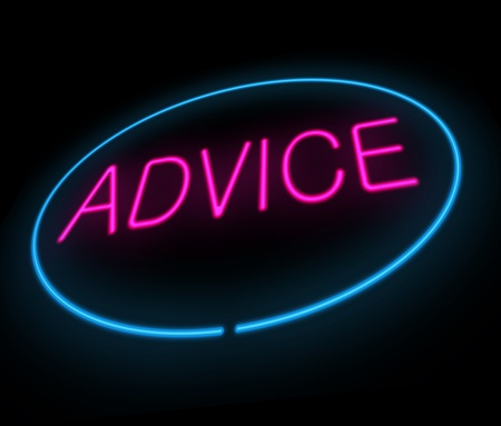 advising: Illustration depicting a neon sign with an advice concept.