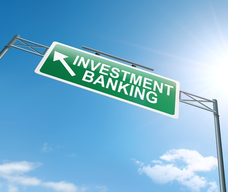 Illustration depicting a sign with an investment banking concept. Stock Illustration - 18689742