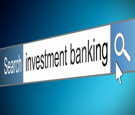 Illustration depicting a screen shot of an internet search bar containing an investment banking concept. Stock Illustration - 18689722