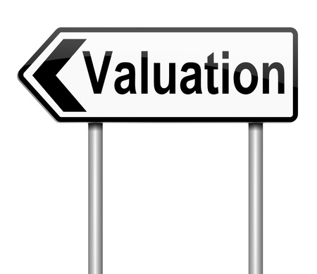 Illustration depicting a sign with a valuation concept. illustration