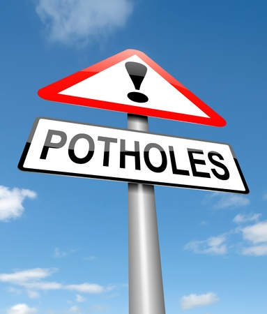 Illustration depicting a sign with a potholes concept