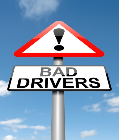 drivers: Illustration depicting a sign with a bad driver concept