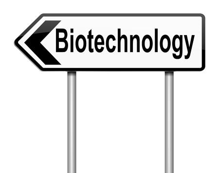pharmaceutical industry: Illustration depicting a sign with a biotechnology concept  Stock Photo