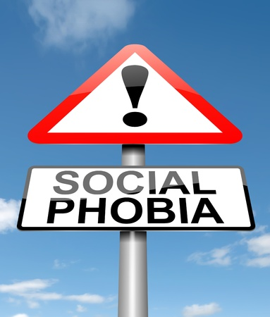 lack of confidence: Illustration depicting a sign with a social phobia concept