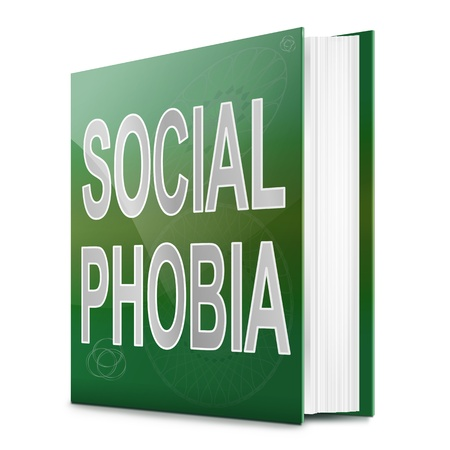lack of confidence: Illustration depicting a text book with a social phobia concept title  White background