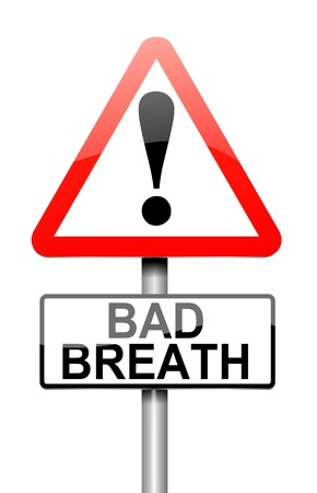 Illustration depicting a sign with a bad breath concept  illustration