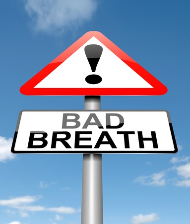 halitosis: Illustration depicting a sign with a bad breath concept