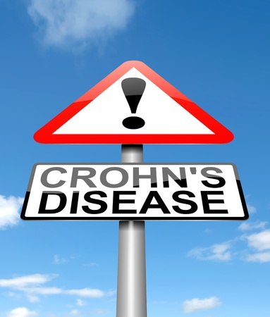 ailment: Illustration depicting a sign with a Crohn Stock Photo