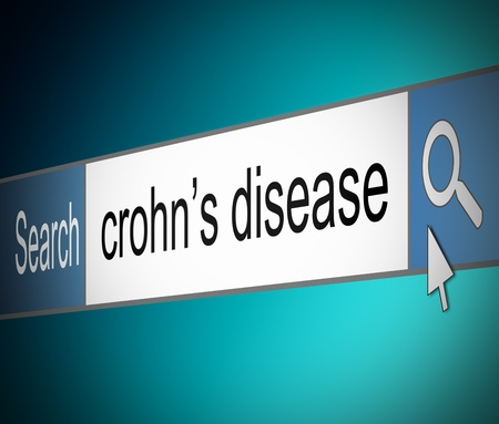 malady: Illustration depicting a screen shot of an internet search bar containing a Crohn