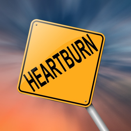 Illustration depicting a sign with a heartburn concept  Stock Illustration - 19006380