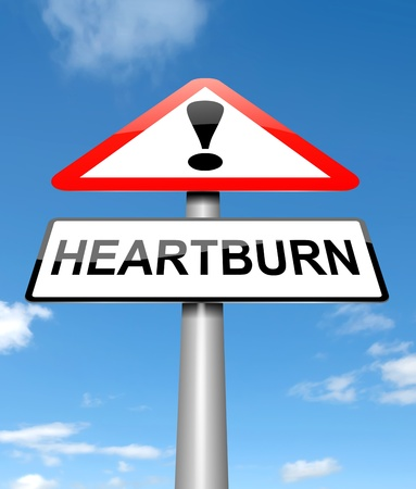 Illustration depicting a sign with a heartburn concept  illustration