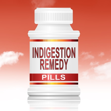 relieving pain: Illustration depicting a medicine container with an indigestion remedy concept