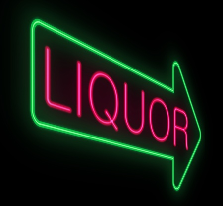 Illustration depicting a sign with a liquor concept.