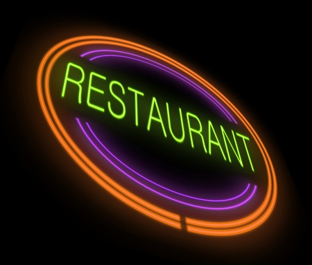 outdoor dining: Illustration depicting an illuminated neon restaurant sign with black background. Stock Photo