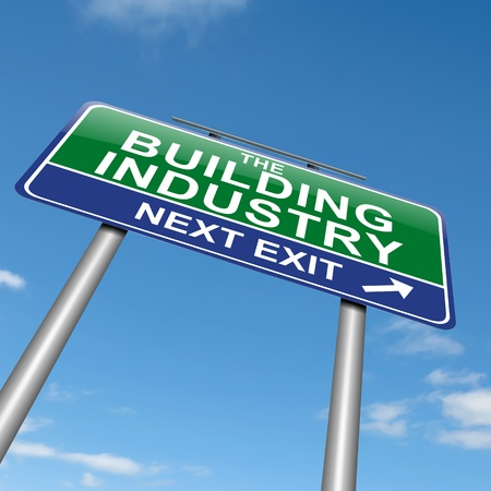 erection: Illustration depicting a sign with a Building Industry concept. Stock Photo