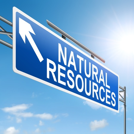 Illustration depicting a sign with a natural resources concept. illustration