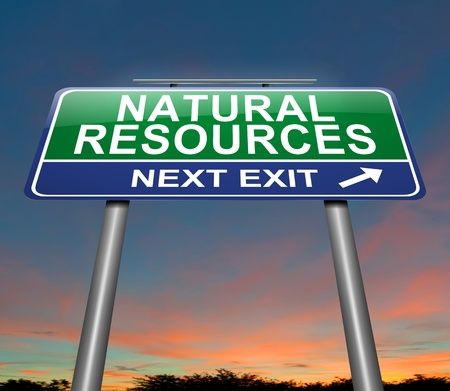 energy conservation: Illustration depicting a sign with a natural resources concept.