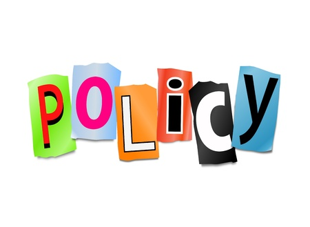 Illustration depicting cut out letters arranged to form the word policy. illustration