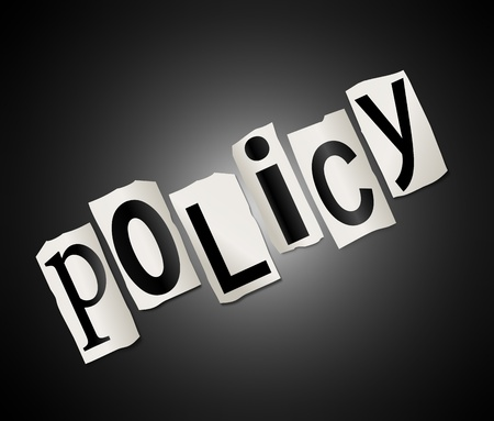 guidelines: Illustration depicting cut out letters arranged to form the word policy.