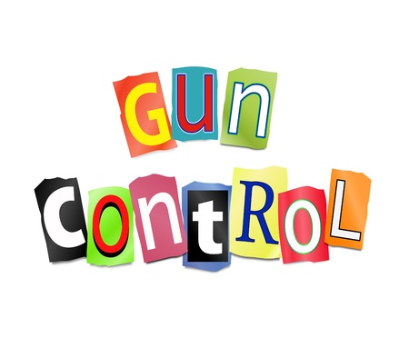 carrying out: Illustration depicting cut out letters arranged to form the words gun control. Stock Photo