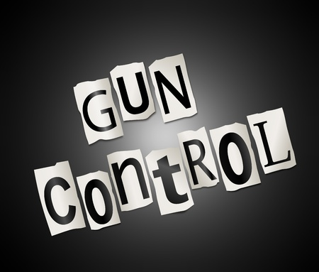 Illustration depicting cut out letters arranged to form the words gun control. Stock Illustration - 19102066