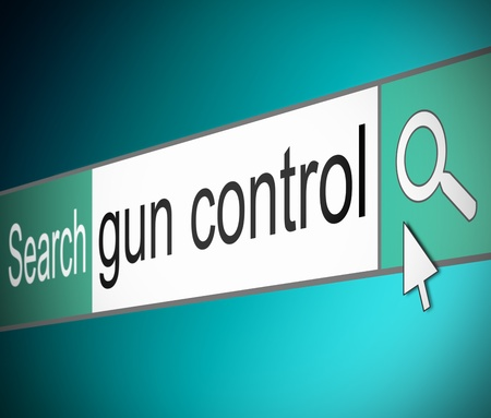 Illustration depicting a screen shot of an internet search bar containing a gun control concept.  illustration