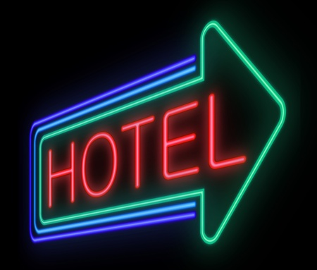 Illustration depicting an illuminated neon hotel sign. illustration