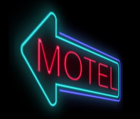Illustration depicting an illuminated neon motel sign. illustration