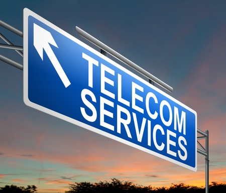 telecom: Illustration depicting a sign with a telecom services concept.