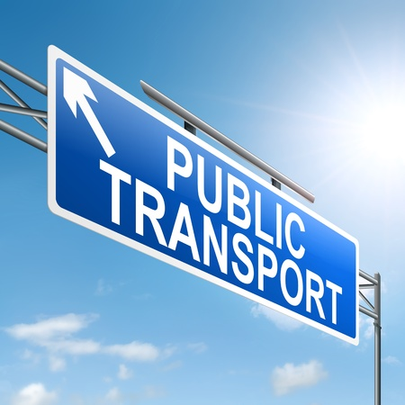 Illustration depicting a sign with a public transport concept. Stock Illustration - 19102088