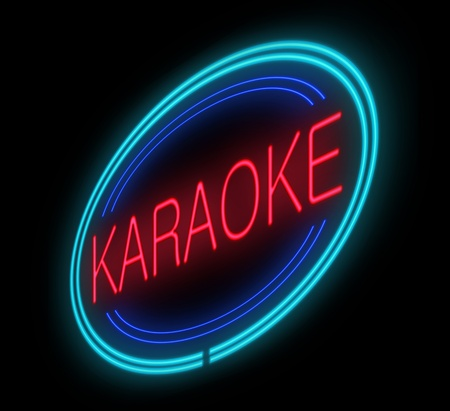 Illustration depicting an illuminated neon karaoke sign. illustration