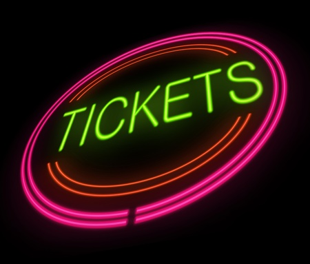Illustration depicting an illuminated tickets sign. illustration