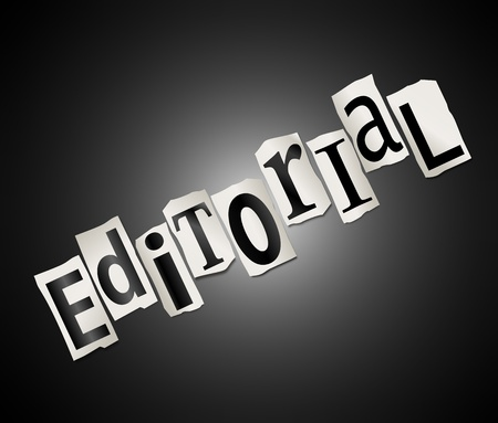 journalistic: Illustration depicting cutout printed letters arranged to form the word editorial  Stock Photo