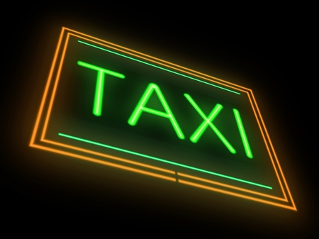 Illustration depicting an illuminated neon taxi sign  Stock Illustration - 19137779