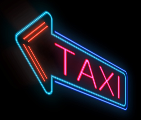 Illustration depicting an illuminated neon taxi sign  Stock Illustration - 19137786
