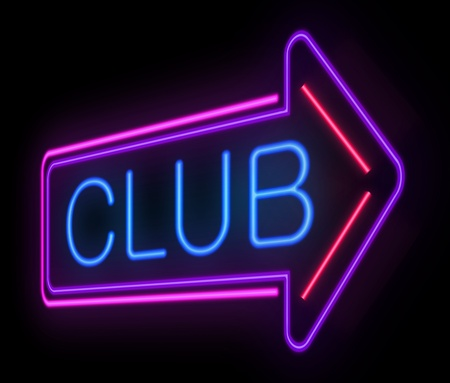 nightclub bar: Illustration depicting an illuminated club sign over black