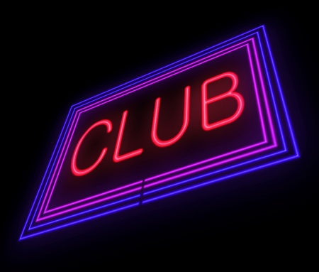 Illustration depicting an illuminated club sign over black  illustration
