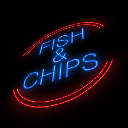 Illustration depicting an illuminated neon fish and chip sign with black background  illustration