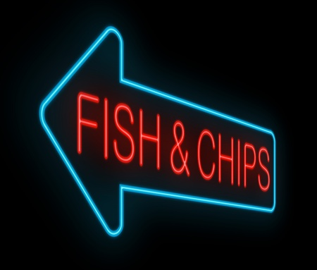 Illustration depicting an illuminated neon fish and chips sign with black background  illustration