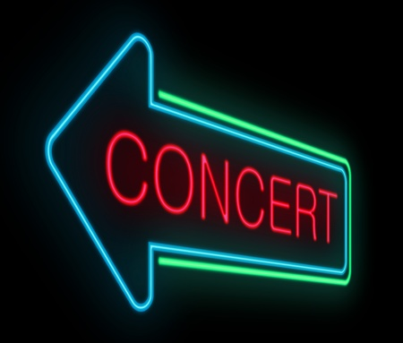 depicting: Illustration depicting an illuminated neon concert sign  Stock Photo
