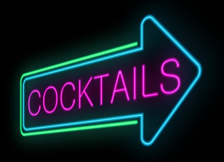 nightclub bar: Illustration depicting an illuminated neon cocktails sign